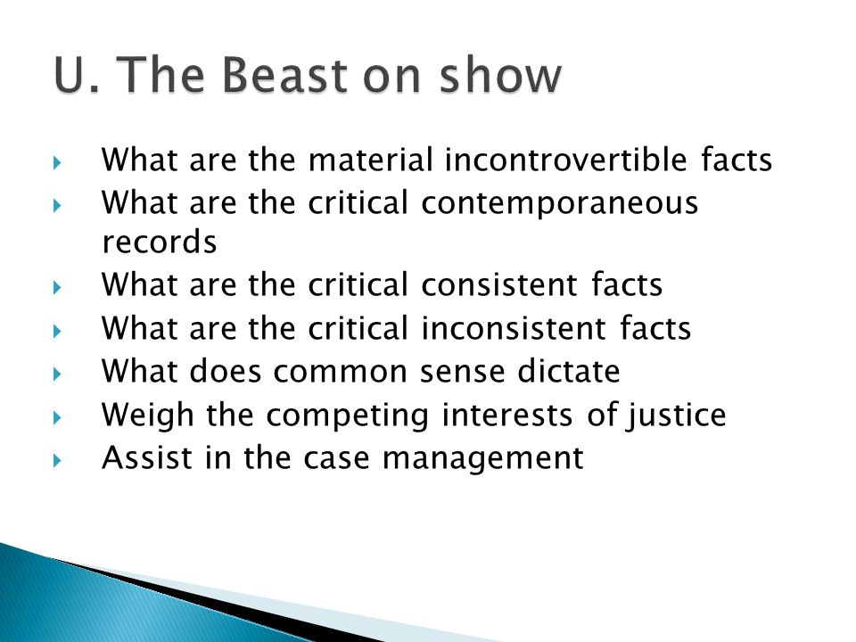  What are the material incontrovertible facts  What are the critical contemporaneous records  What are the critical consistent facts  What are the critical inconsistent facts  What does common sense dictate  Weigh the competing interests of justice  Assist in the case management