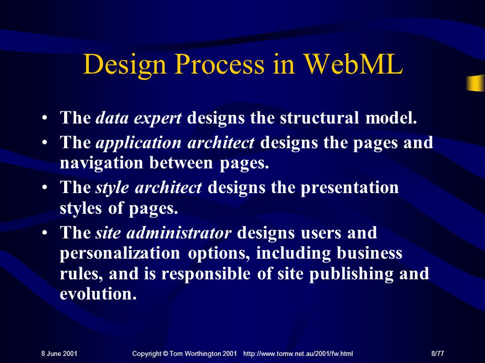 8 June 2001Copyright © Tom Worthington 2001 http://www.tomw.net.au/2001/fw.html8/77 Design Process in WebML The data expert designs the structural model.