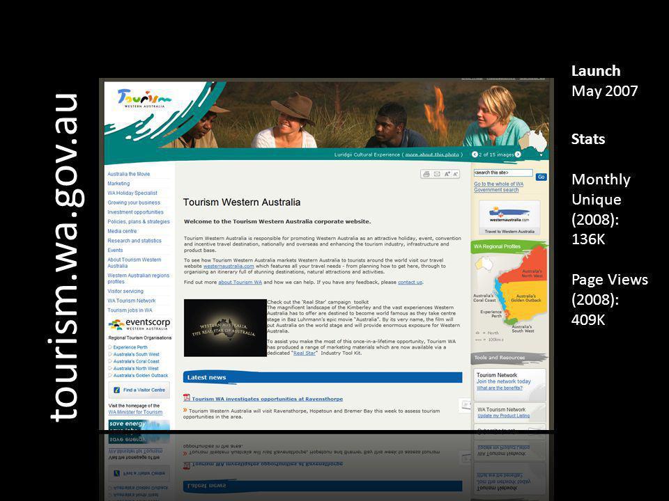tourism.wa.gov.au Launch May 2007 Stats Monthly Unique (2008): 136K Page Views (2008): 409K