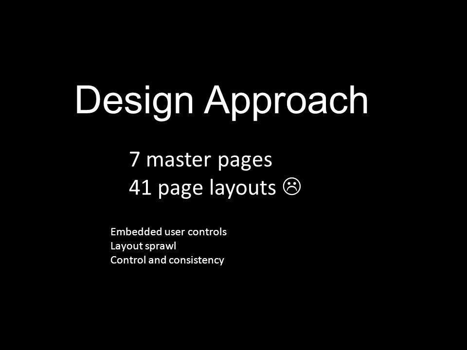 Design Approach 7 master pages 41 page layouts  Embedded user controls Layout sprawl Control and consistency