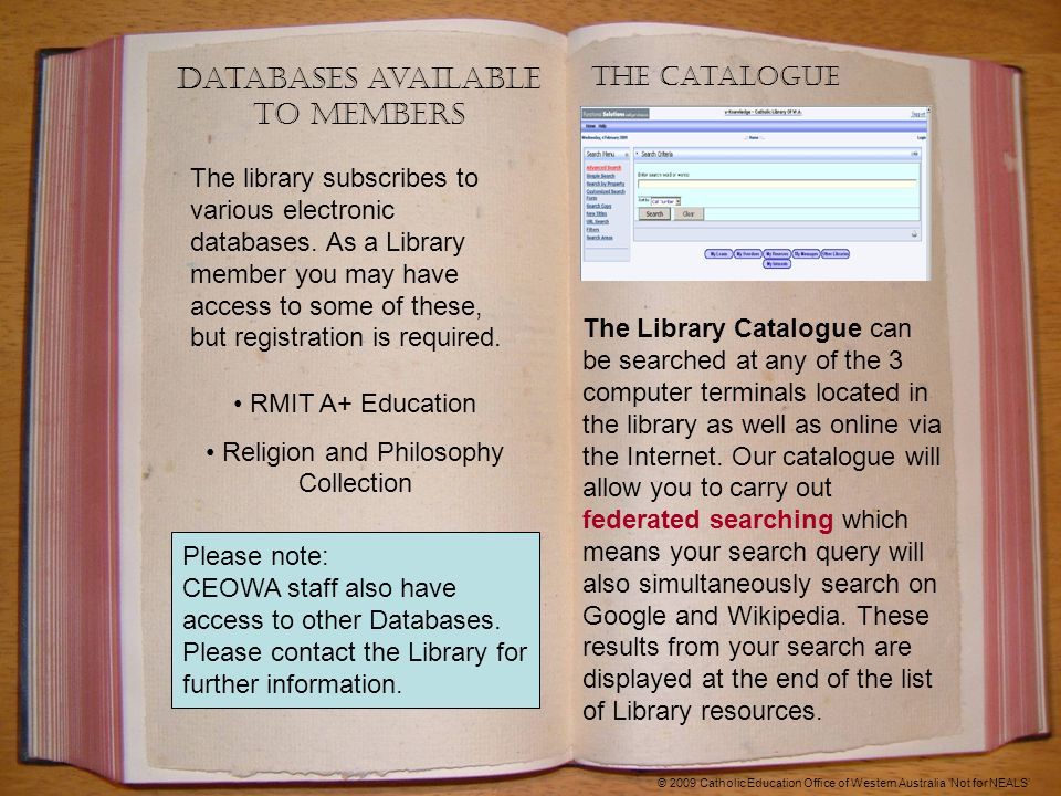Databases available to members The library subscribes to various electronic databases.