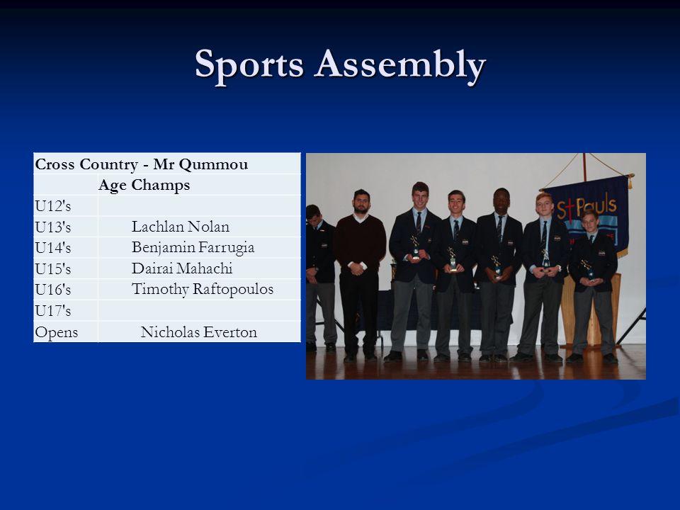 Sports Assembly Cross Country - Mr Qummou Age Champs U12 s U13 sLachlan Nolan U14 sBenjamin Farrugia U15 sDairai Mahachi U16 sTimothy Raftopoulos U17 s OpensNicholas Everton
