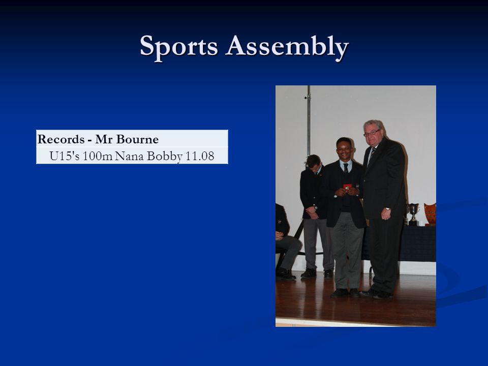 Sports Assembly Records - Mr Bourne U15 s 100m Nana Bobby 11.08