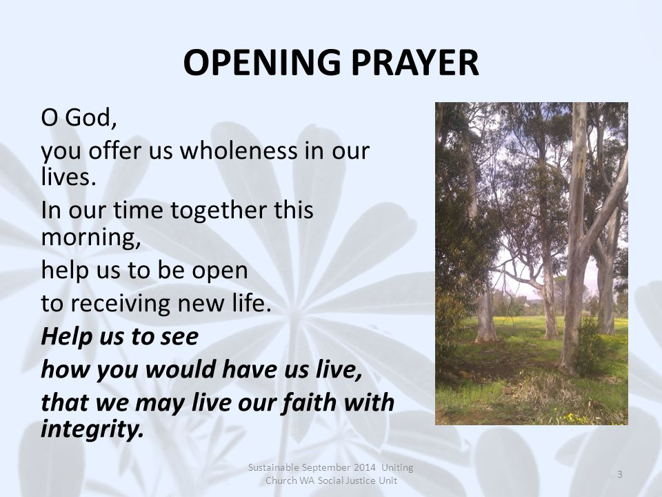 OPENING PRAYER O God, you offer us wholeness in our lives.
