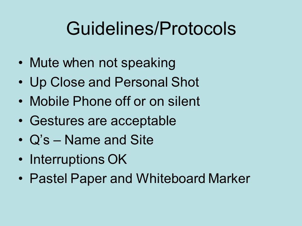Guidelines/Protocols Mute when not speaking Up Close and Personal Shot Mobile Phone off or on silent Gestures are acceptable Q's – Name and Site Inter