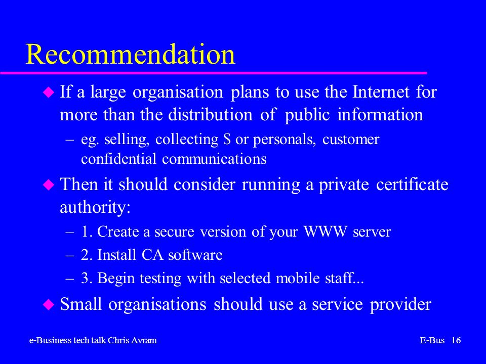 e-Business tech talk Chris AvramE-Bus 16 Recommendation u If a large organisation plans to use the Internet for more than the distribution of public information –eg.