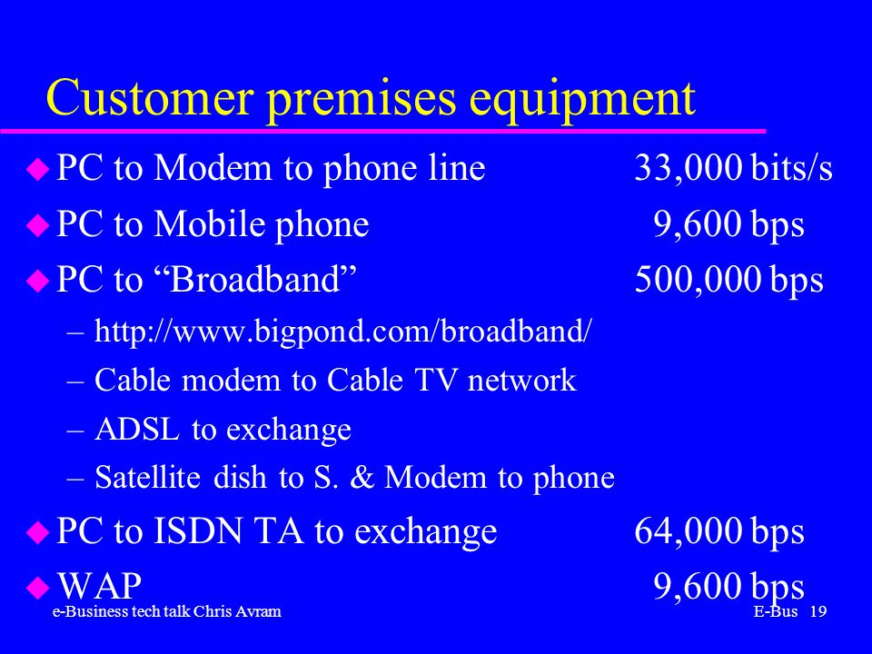 e-Business tech talk Chris AvramE-Bus 19 Customer premises equipment u PC to Modem to phone line33,000 bits/s u PC to Mobile phone 9,600 bps u PC to Broadband 500,000 bps –http://www.bigpond.com/broadband/ –Cable modem to Cable TV network –ADSL to exchange –Satellite dish to S.