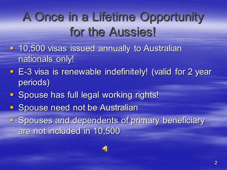 1 GROW USA E-3 Visa for Australians.