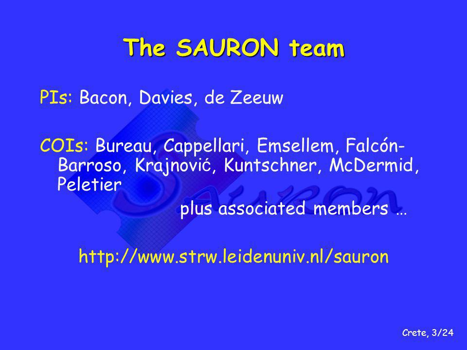Crete, 3/24 The SAURON team PIs: Bacon, Davies, de Zeeuw COIs: Bureau, Cappellari, Emsellem, Falcón- Barroso, Krajnovi ć, Kuntschner, McDermid, Peletier plus associated members … http://www.strw.leidenuniv.nl/sauron