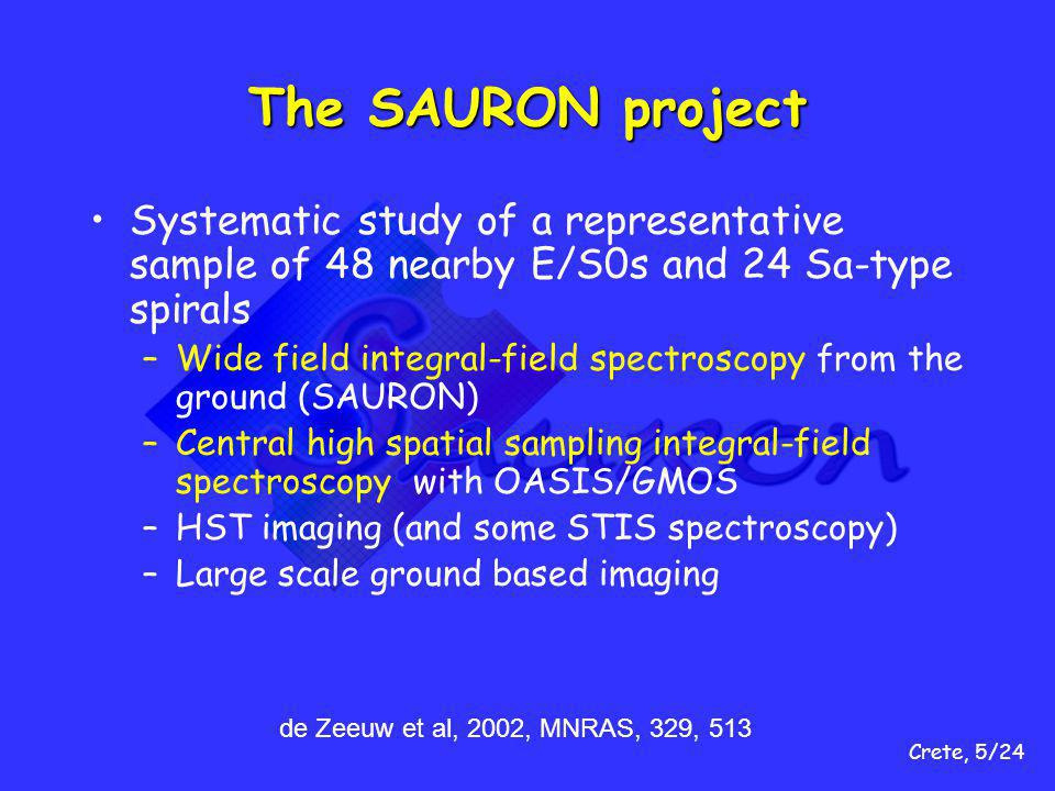 Crete, 5/24 The SAURON project Systematic study of a representative sample of 48 nearby E/S0s and 24 Sa-type spirals –Wide field integral-field spectroscopy from the ground (SAURON) –Central high spatial sampling integral-field spectroscopy with OASIS/GMOS –HST imaging (and some STIS spectroscopy) –Large scale ground based imaging de Zeeuw et al, 2002, MNRAS, 329, 513