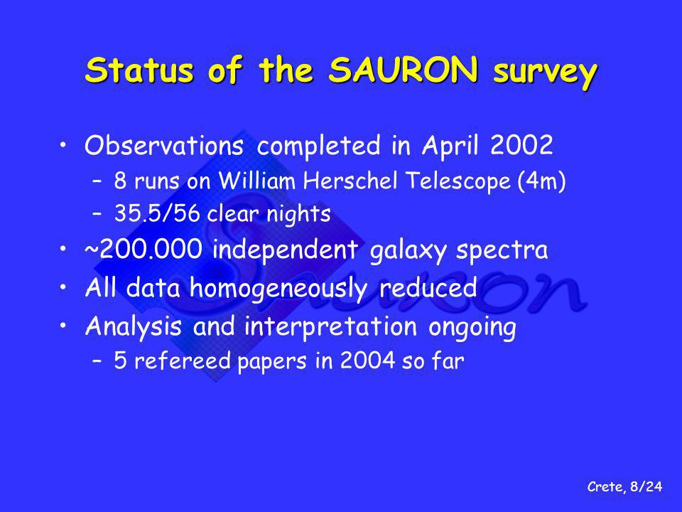 Crete, 8/24 Status of the SAURON survey Observations completed in April 2002 –8 runs on William Herschel Telescope (4m) –35.5/56 clear nights ~200.000 independent galaxy spectra All data homogeneously reduced Analysis and interpretation ongoing –5 refereed papers in 2004 so far