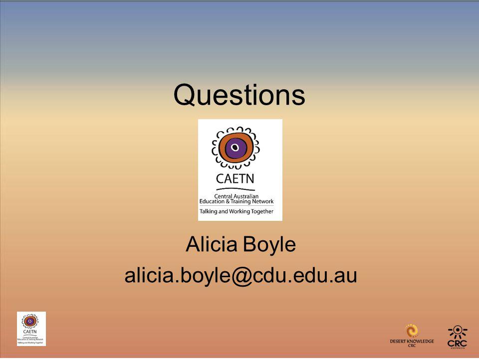 Questions Alicia Boyle alicia.boyle@cdu.edu.au