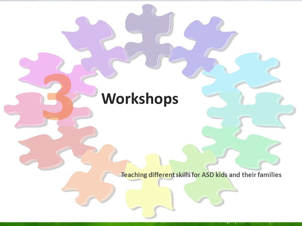 Workshops Teaching different skills for ASD kids and their families 3