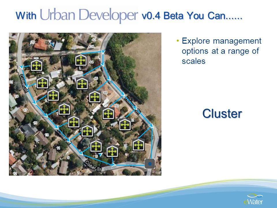 With v0.4 Beta You Can...... Explore management options at a range of scales Cluster