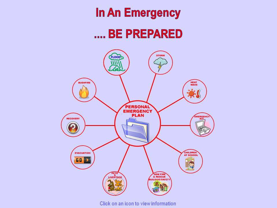 Personal Emergency Plan FloodStorm Emergency Kit Children At School Pets & Livestock Evacuation After an Emergency Bushfire Click on an icon to view information