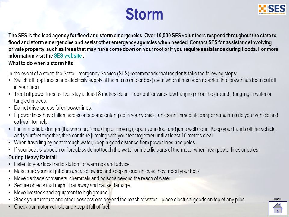 The SES is the lead agency for flood and storm emergencies.