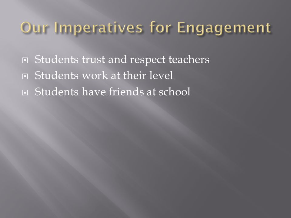  Students trust and respect teachers  Students work at their level  Students have friends at school