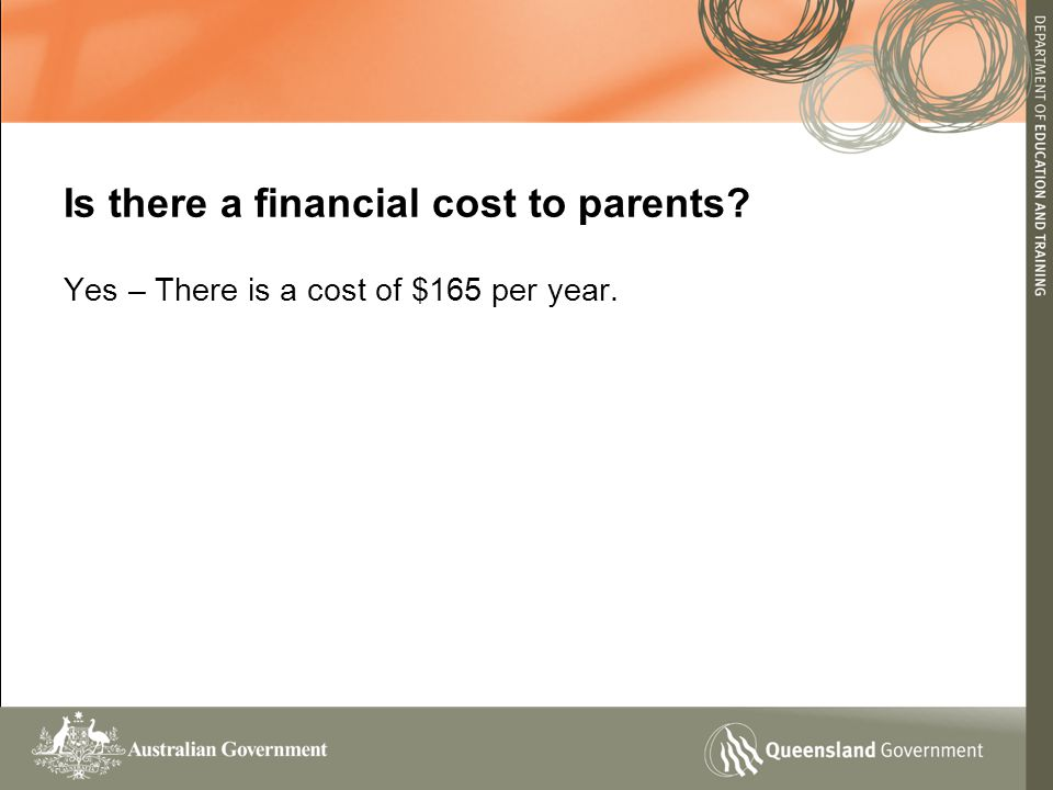 Is there a financial cost to parents Yes – There is a cost of $165 per year.