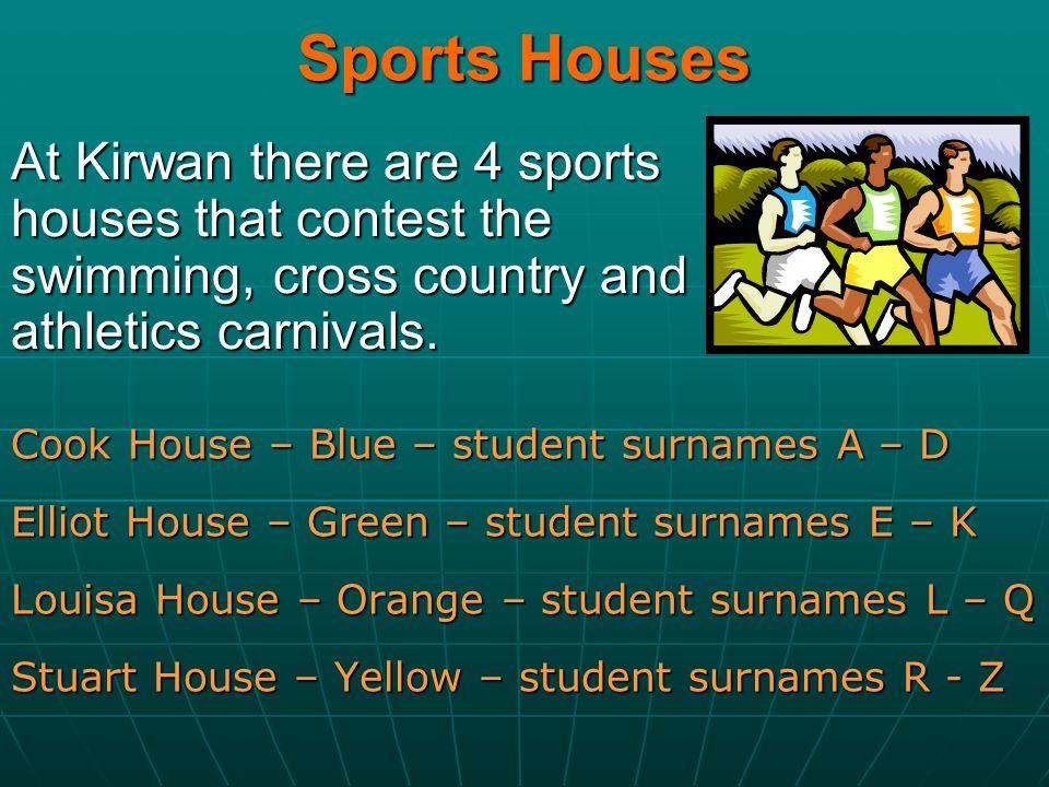 Sports Houses Cook House – Blue – student surnames A – D Elliot House – Green – student surnames E – K Louisa House – Orange – student surnames L – Q