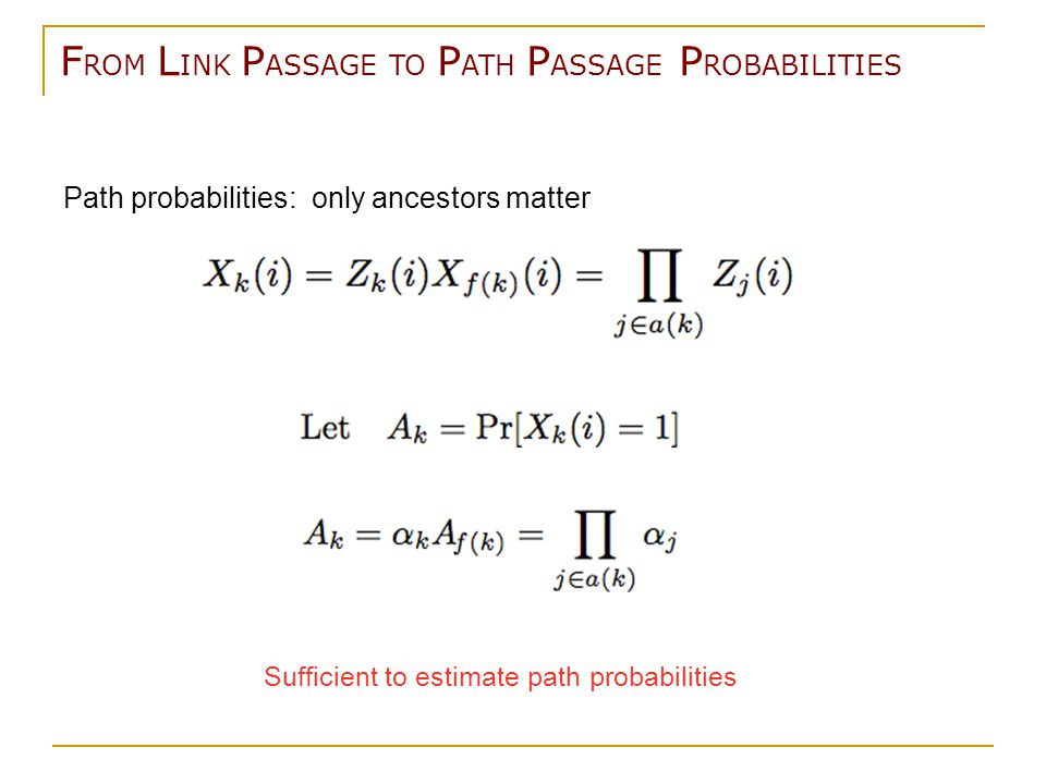 F ROM L INK P ASSAGE TO P ATH P ASSAGE P ROBABILITIES Path probabilities: only ancestors matter Sufficient to estimate path probabilities
