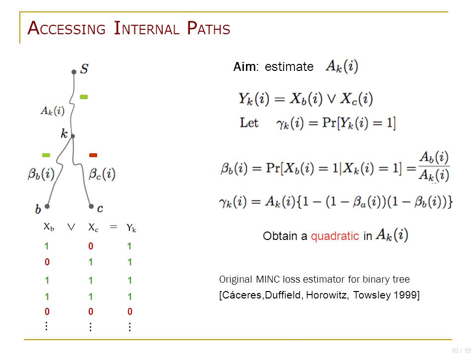 E STIMATION : JOINT PATH PASSAGE PROBABILITY, SINGLE PROBE Aim: estimate 1 0 0 1 1 1 1 1 0 0 1 1 1 1 0 … …… 10 / 19 Original MINC loss estimator for binary tree [Cáceres,Duffield, Horowitz, Towsley 1999] A CCESSING I NTERNAL P ATHS Obtain a quadratic in