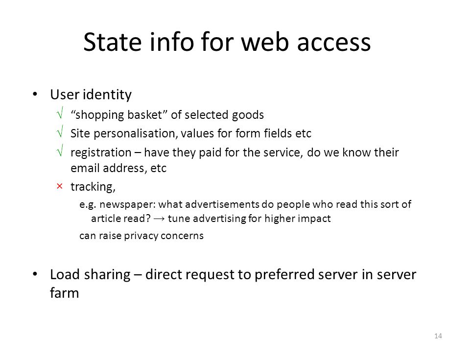 """14 State info for web access User identity √ """"shopping basket"""" of selected goods √ Site personalisation, values for form fields etc √ registration – h"""