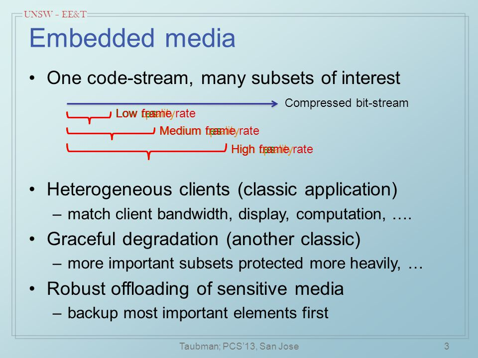 UNSW – EE&T Embedded media One code-stream, many subsets of interest 3Taubman; PCS'13, San Jose Low res Medium res High res Compressed bit-stream Low quality Medium quality High quality Low frame rate Medium frame rate High frame rate Heterogeneous clients (classic application) –match client bandwidth, display, computation, ….
