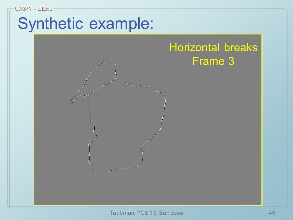 UNSW – EE&T Synthetic example: Taubman: PCS'13, San Jose46 Horizontal breaks Frame 1 Horizontal breaks Frame 2 induced Horizontal breaks Frame 3