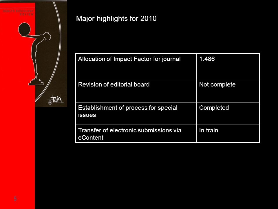 5 Allocation of Impact Factor for journal1.486 Revision of editorial boardNot complete Establishment of process for special issues Completed Transfer of electronic submissions via eContent In train Major highlights for 2010