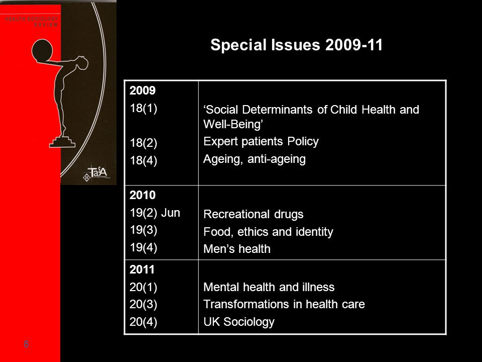 6 Special Issues 2009-11 2009 18(1) 18(2) 18(4) 'Social Determinants of Child Health and Well-Being' Expert patients Policy Ageing, anti-ageing 2010 1