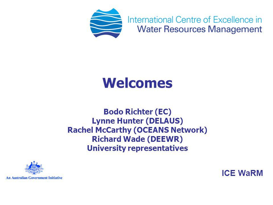 Welcomes Bodo Richter (EC) Lynne Hunter (DELAUS) Rachel McCarthy (OCEANS Network) Richard Wade (DEEWR) University representatives ICE WaRM