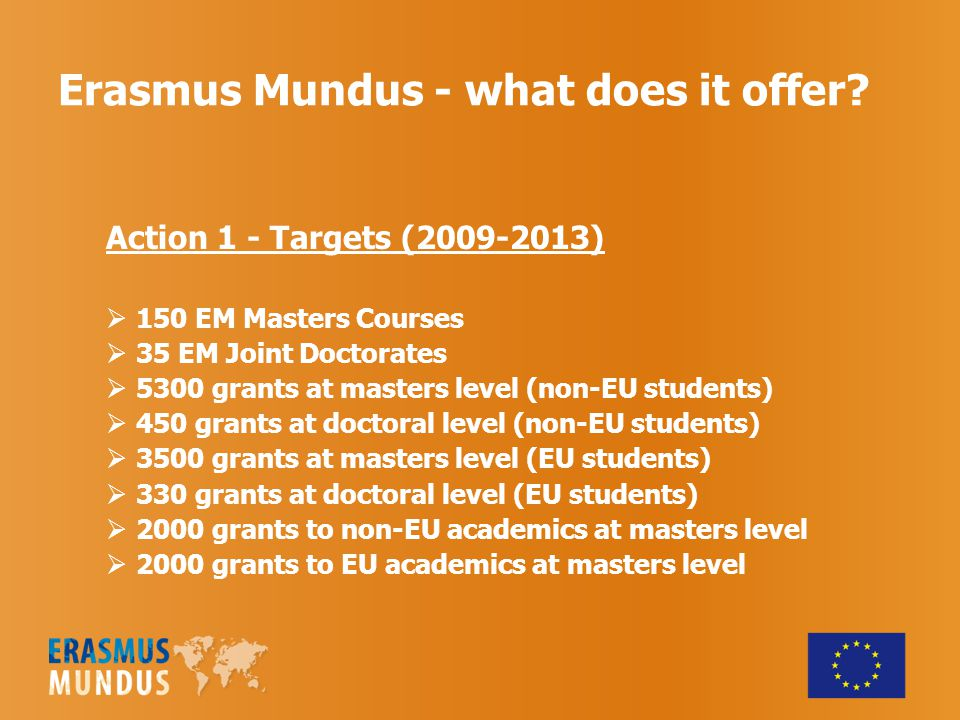 Erasmus Mundus - what does it offer? Action 1 - Targets (2009-2013)  150 EM Masters Courses  35 EM Joint Doctorates  5300 grants at masters level (