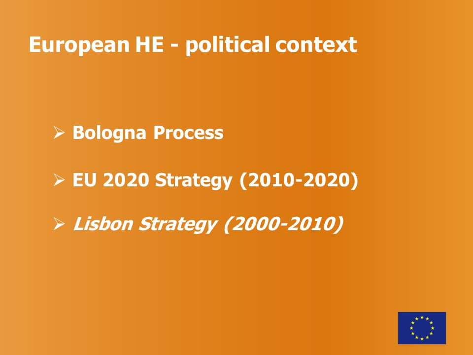  Bologna Process  EU 2020 Strategy (2010-2020)  Lisbon Strategy (2000-2010)