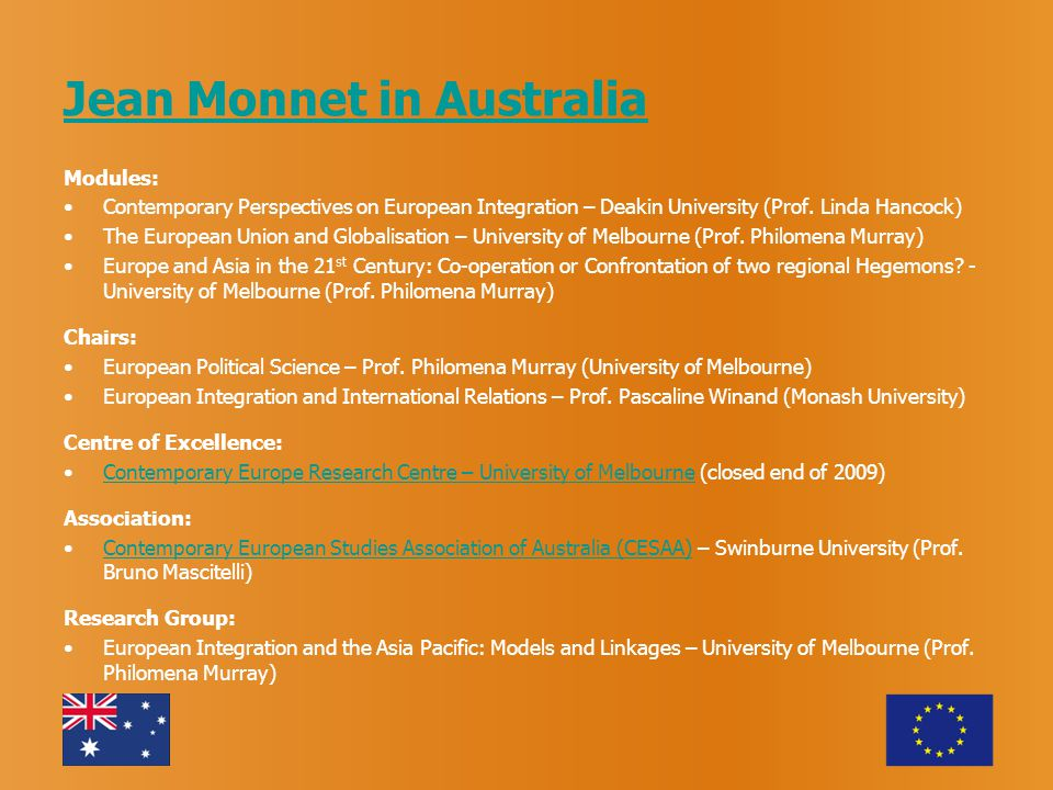 Jean Monnet in Australia Modules: Contemporary Perspectives on European Integration – Deakin University (Prof.