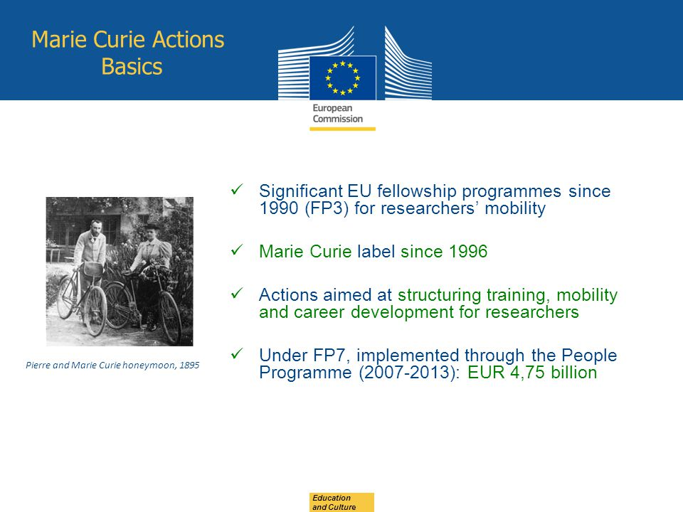 Education and Culture Marie Curie Actions Basics Significant EU fellowship programmes since 1990 (FP3) for researchers' mobility Marie Curie label since 1996 Actions aimed at structuring training, mobility and career development for researchers Under FP7, implemented through the People Programme (2007-2013): EUR 4,75 billion Pierre and Marie Curie honeymoon, 1895