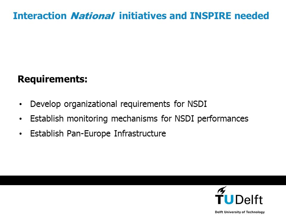 Develop organizational requirements for NSDI Establish monitoring mechanisms for NSDI performances Establish Pan-Europe Infrastructure Interaction National initiatives and INSPIRE needed Requirements: