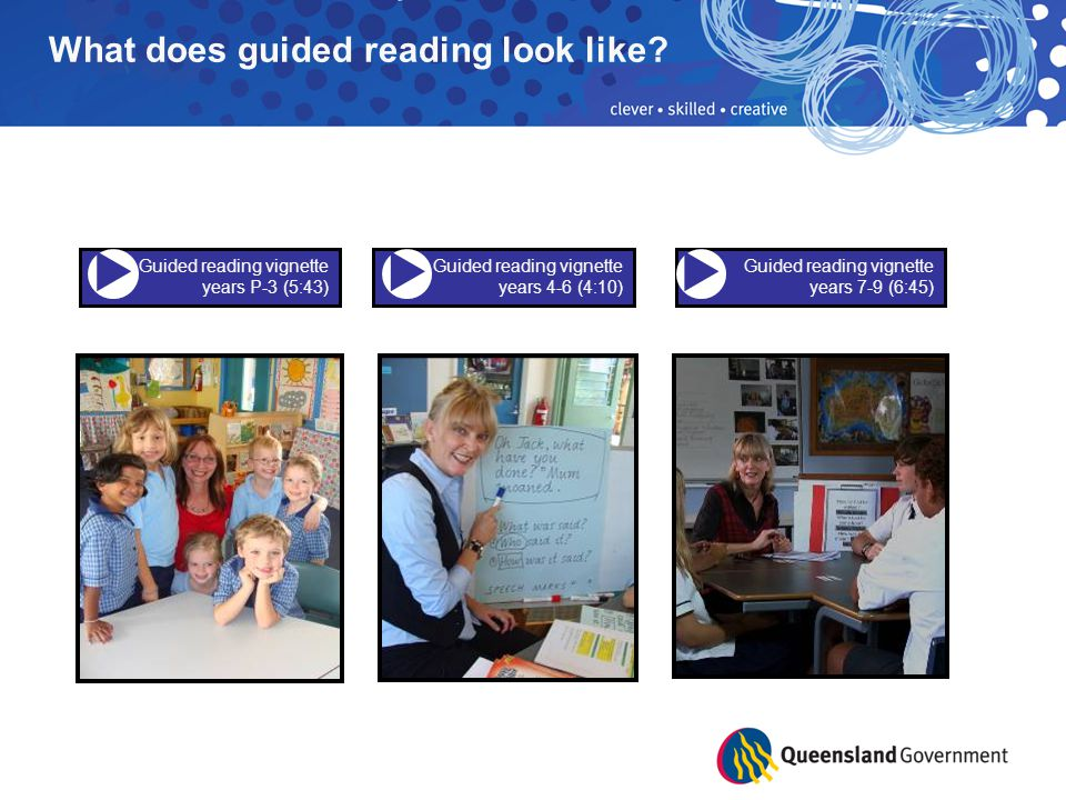 Guided reading vignette years 7-9 (6:45) Guided reading vignette years P-3 (5:43) Guided reading vignette years 4-6 (4:10) What does guided reading look like.