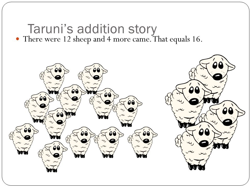 Arnav's addition story There were 10 sheep and 3 came along. So now there are 13