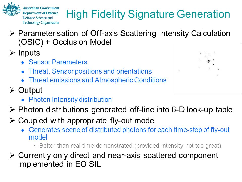 High Fidelity Signature Generation  Parameterisation of Off-axis Scattering Intensity Calculation (OSIC) + Occlusion Model  Inputs  Sensor Paramete
