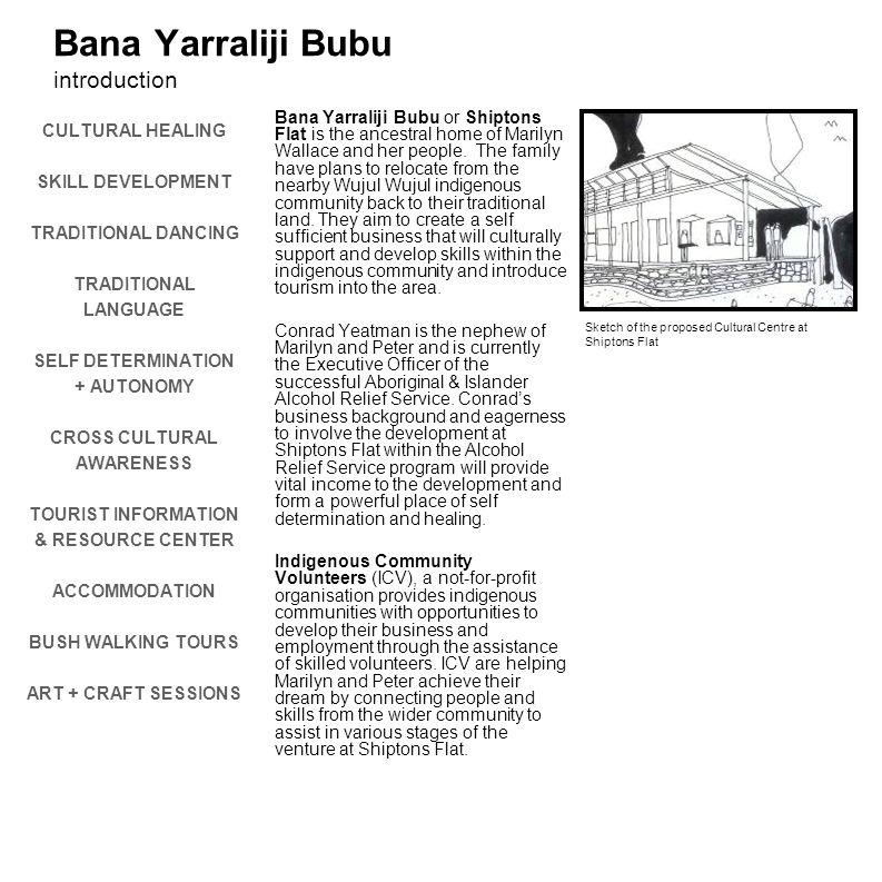 Bana Yarraliji Bubu introduction CULTURAL HEALING SKILL DEVELOPMENT TRADITIONAL DANCING TRADITIONAL LANGUAGE SELF DETERMINATION + AUTONOMY CROSS CULTU
