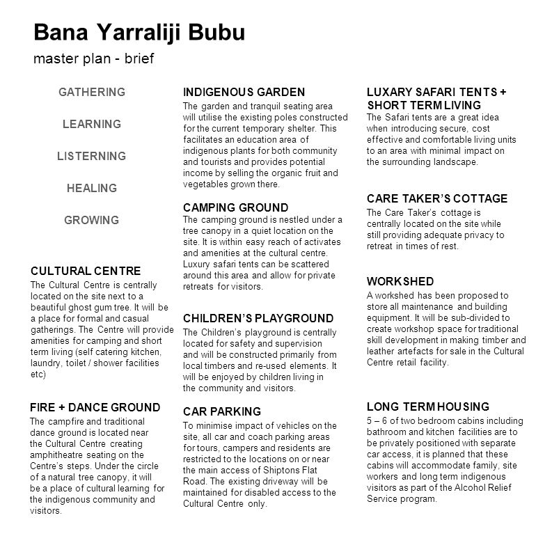 Bana Yarraliji Bubu master plan - brief FIRE + DANCE GROUND The campfire and traditional dance ground is located near the Cultural Centre creating amp