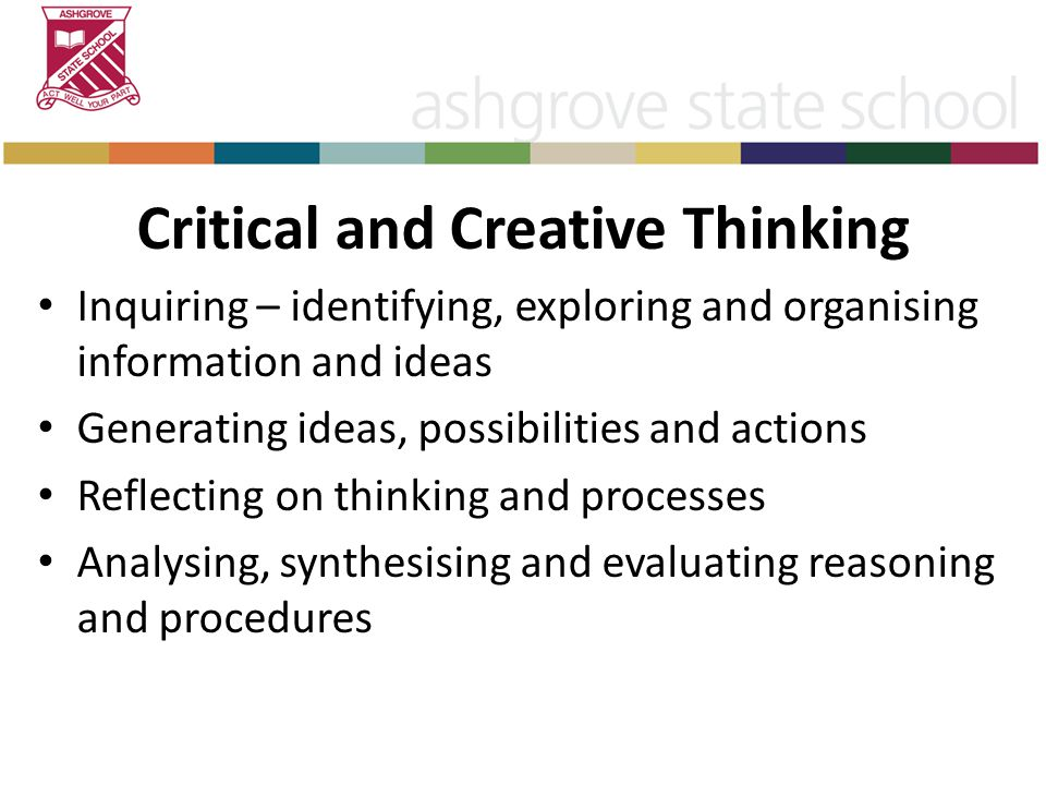 Critical and Creative Thinking Inquiring – identifying, exploring and organising information and ideas Generating ideas, possibilities and actions Reflecting on thinking and processes Analysing, synthesising and evaluating reasoning and procedures
