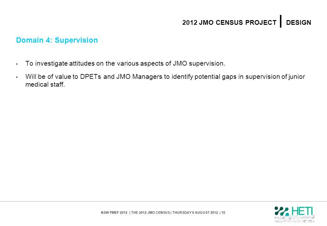 NSW PMEF 2012 | THE 2012 JMO CENSUS | THURSDAY 9 AUGUST 2012 | 10 2012 JMO CENSUS PROJECT | DESIGN Domain 4: Supervision To investigate attitudes on t