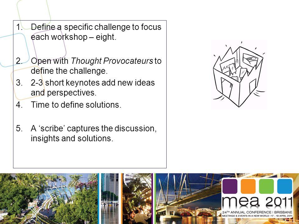 1.Define a specific challenge to focus each workshop – eight.