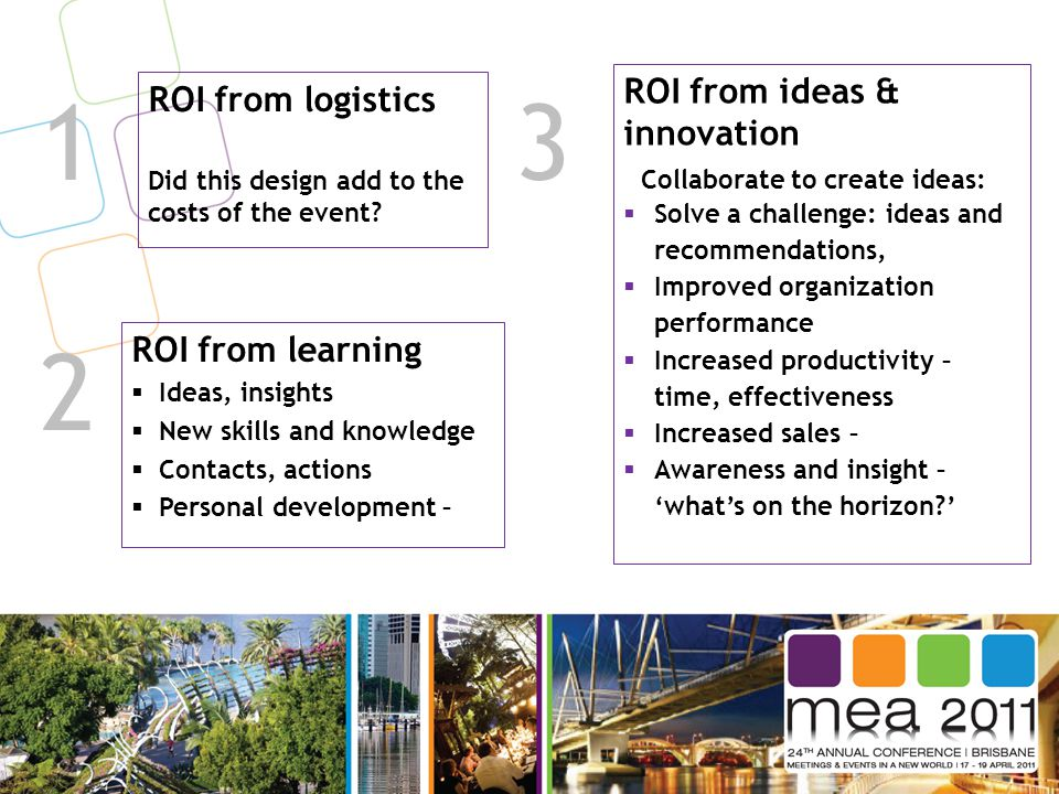 1 ROI from logistics Did this design add to the costs of the event? ROI from learning  Ideas, insights  New skills and knowledge  Contacts, actions