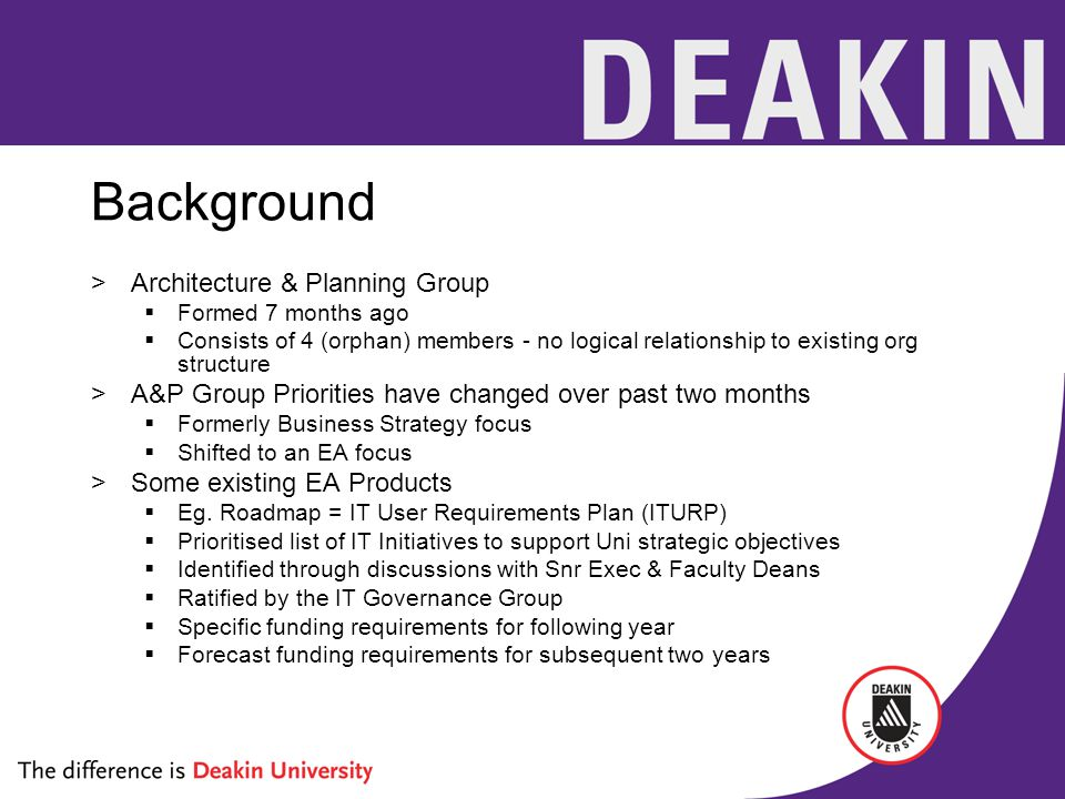 Background >Architecture & Planning Group  Formed 7 months ago  Consists of 4 (orphan) members - no logical relationship to existing org structure >