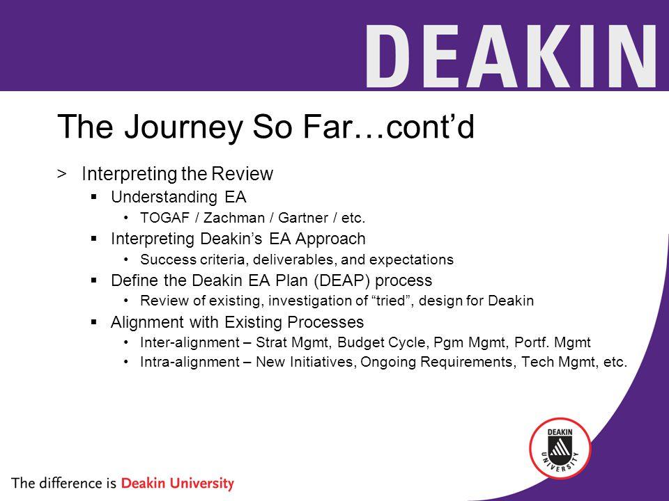 The Journey So Far…cont'd >Interpreting the Review  Understanding EA TOGAF / Zachman / Gartner / etc.