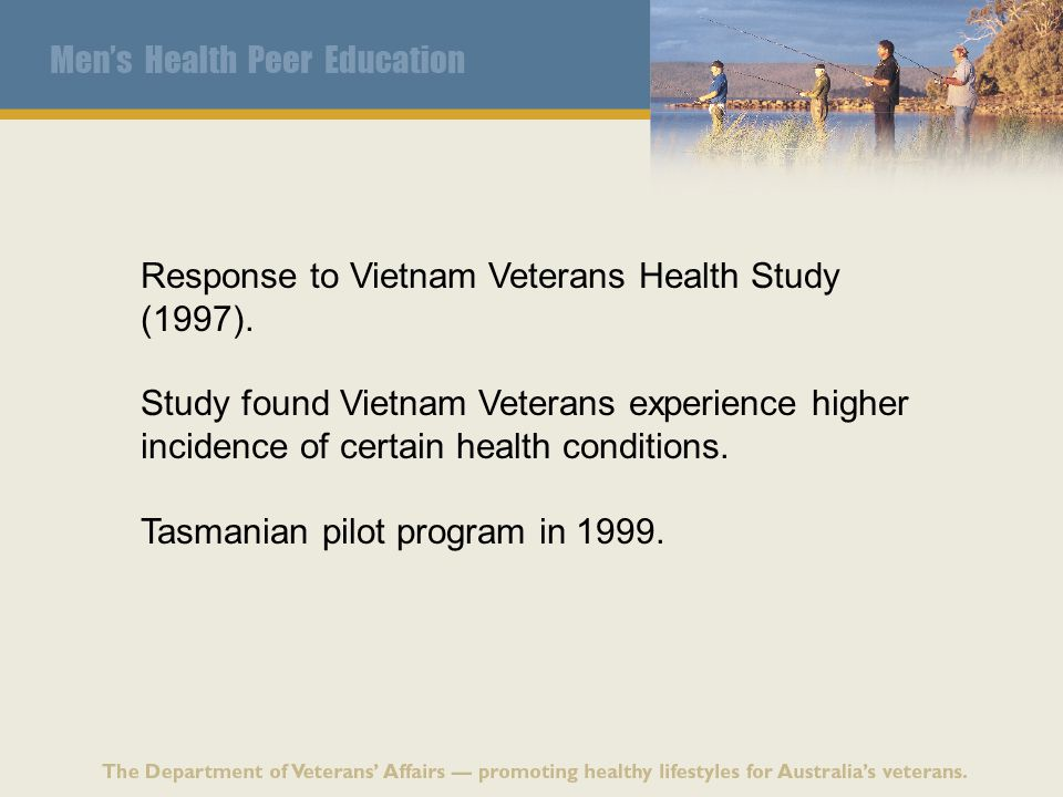 Response to Vietnam Veterans Health Study (1997). Study found Vietnam Veterans experience higher incidence of certain health conditions. Tasmanian pil
