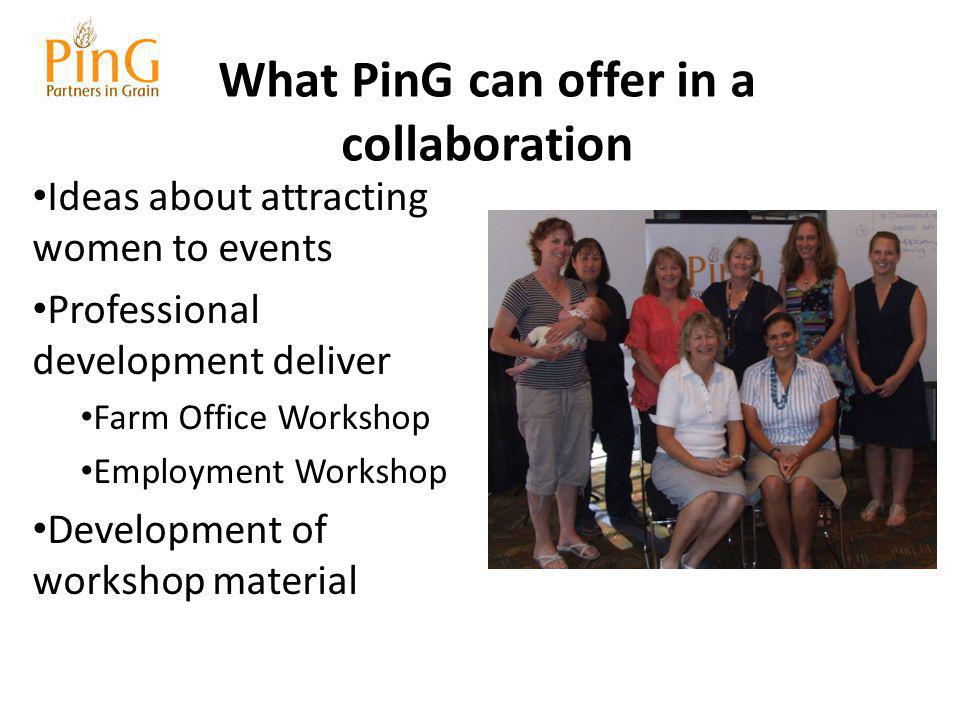 What PinG can offer in a collaboration Ideas about attracting women to events Professional development deliver Farm Office Workshop Employment Workshop Development of workshop material