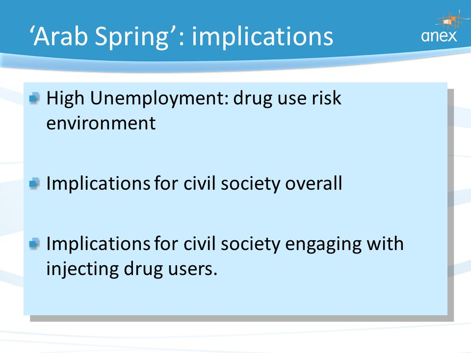 'Arab Spring': implications High Unemployment: drug use risk environment Implications for civil society overall Implications for civil society engaging with injecting drug users.